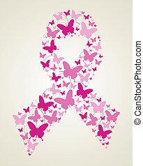 papillon, conscience, ruban, cancer, poitrine