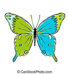 papillon, croquis, conception, ton