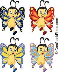 papillon, dessin animé, collection