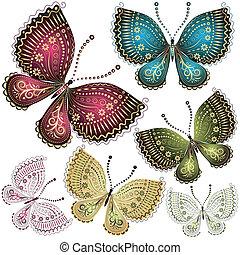 papillon, fantasme, ensemble, vendange