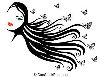 papillon, femme