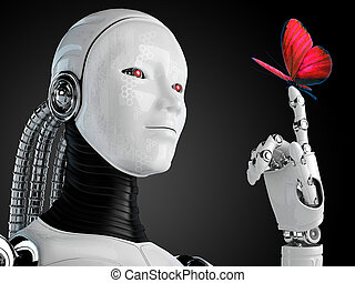 papillon, femme, robot, androïde