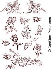 papillon, fleur, oiseau, éléments