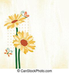 papillon, fleur, printemps, coloré, pâquerette