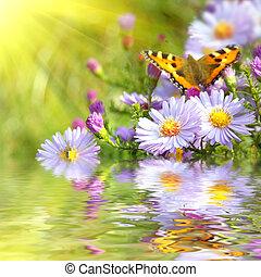 papillon, fleurs, reflet, deux