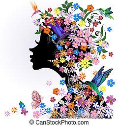 papillon, floral, girl, oiseau, coiffure