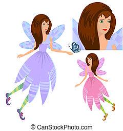 papillon, girl, fée