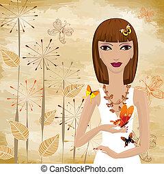 papillon, girl, grunge, papyrus, fond