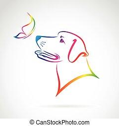 papillon, image, chien, vecteur, fond, blanc