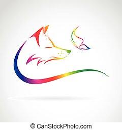 papillon, image, renard, vecteur, fond, blanc