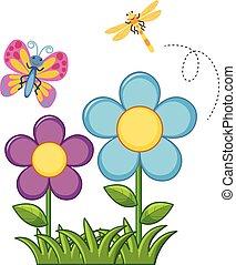 papillon, libellule, jardin fleur