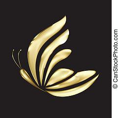 papillon, logo, vecteur, luxe, or
