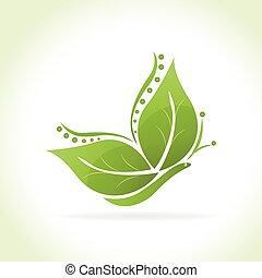 papillon, logo, vert, pousse feuilles