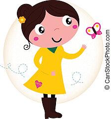 papillon, mignon, printemps, jaune, retro, girl, robe