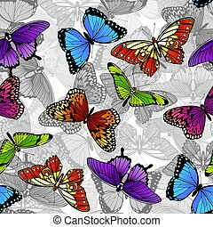 papillon, modèle, seamless, fond