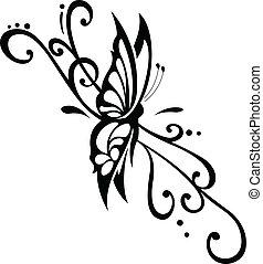 papillon, ornement, floral