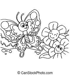 papillon, pages, coloration, vecteur