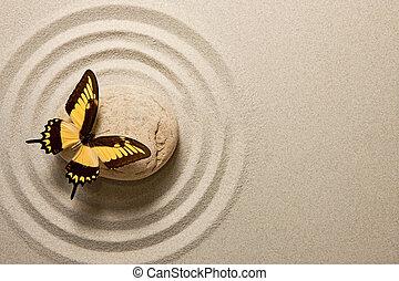 papillon, pierre, zen