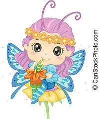 papillon, pollen, girl, boisson, gosse
