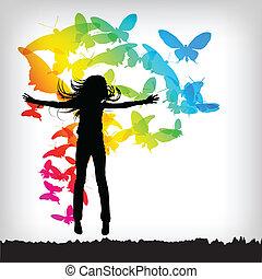 papillon, résumé, coloré, fond