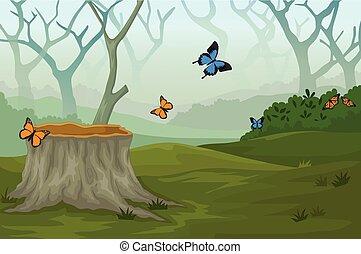 papillon, rigolote, forêt, profond