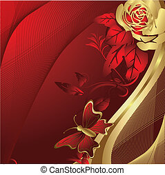 papillon, rose, silhouette