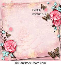 papillon, rose, vendange, salutation, fleurs, papier, fond, carte