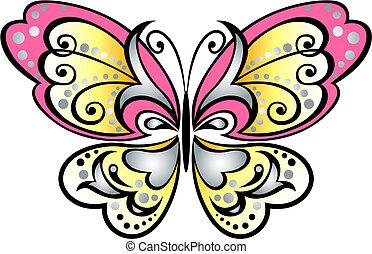 papillon, symbole, rouleau