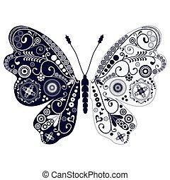 papillon, vendange, sur, bifréquence, blanc