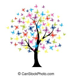 papillons, été, arbre