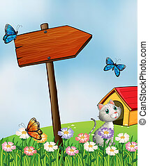papillons, chat, jardin, arrowboard
