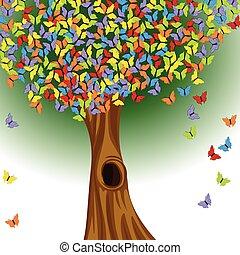 papillons, coloré, arbre
