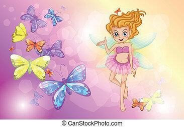 papillons, fée, coloré