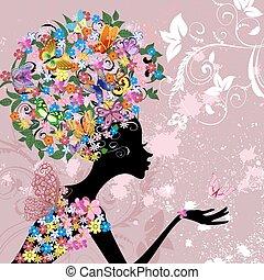 papillons, fleur, dame