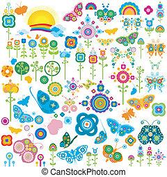 papillons, fleurs, éléments, retro