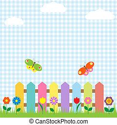 papillons, fleurs, barrière, coloré