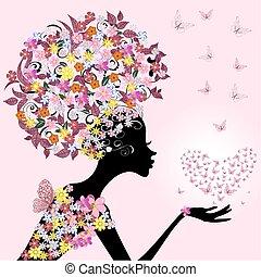 papillons, girl, valentin
