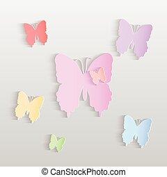 papillons, papier, illustration