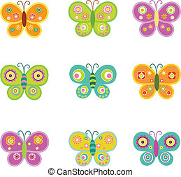 papillons, retro
