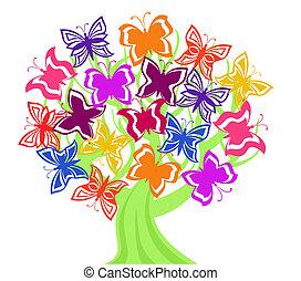 papillons, vecteur, arbre, illustration