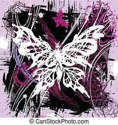papillons, vecteur, backgroung