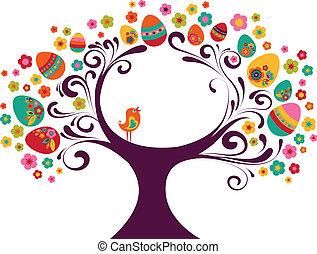 paques, arbre, fond