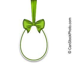 paques, arc, paschal, isolé, arrière-plan vert, oeuf blanc