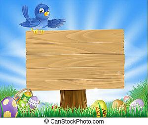 paques, oiseau bleu, dessin animé, fond