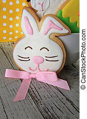 paques, petit gâteau, lapin