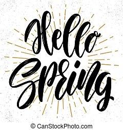 paques, printemps, vecteur, affiche, concept, text., carte voeux, bonjour, postcard., lettrage, locution