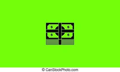 paquet, billet banque, icône, animation