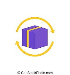 paquet, boîte, blanc, retour, icône
