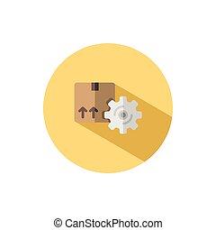 paquet, circle., order., gear., box., expédition, commerce, courant, plat, illustration, icône, vecteur