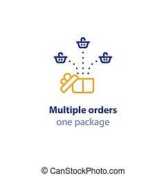 paquet, combiné, expédition, une, services, panier, ordres, icône